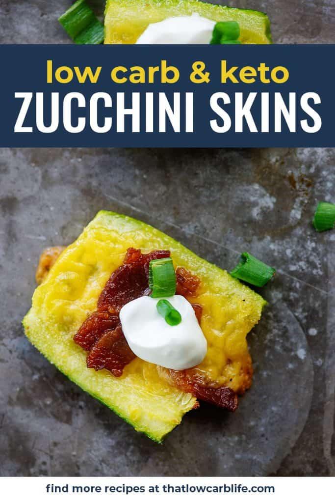 loaded zucchini skins on baking sheet