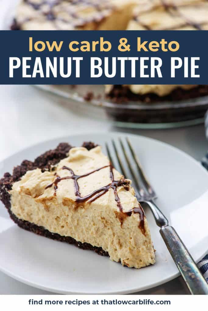 keto peanut butter pie on white plate with vintage fork