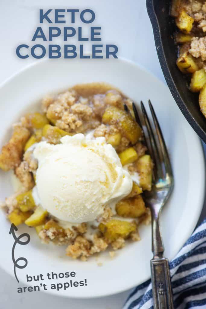 apple and zucchini cobbler recipe on white plate with vanilla ice cream