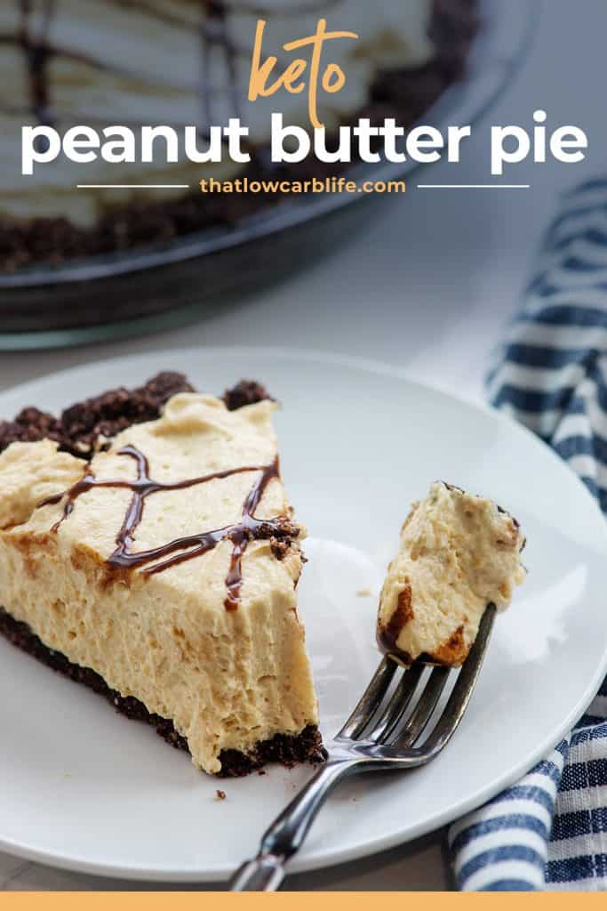 keto peanut butter pie on white plate with fork