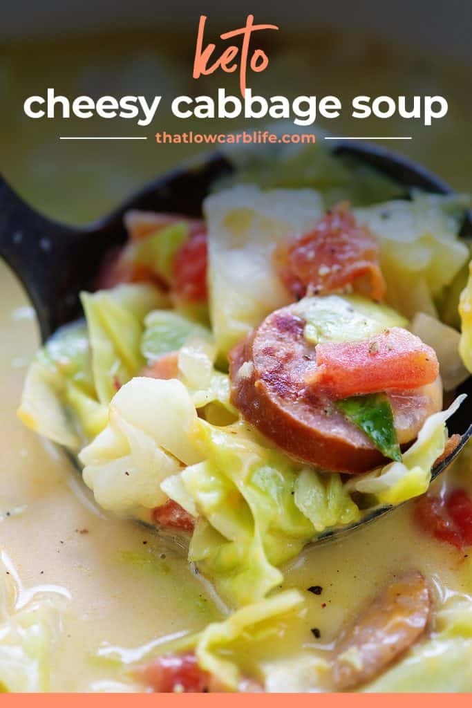keto cabbage soup in ladle