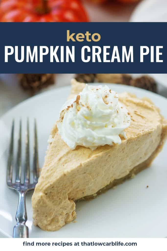 slice of low carb pumpkin pie on white plate