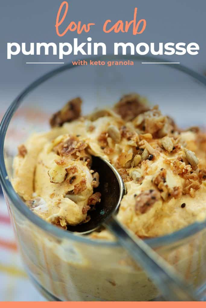 low carb pumpkin mousse in glass dish on spoon