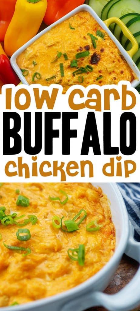 creamy buffalo chicken dip photo collage for pinterest