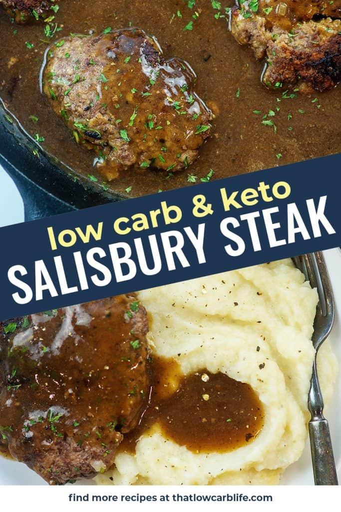photo collage of keto salisbury steak