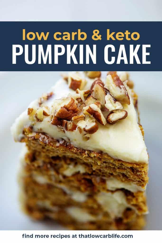 keto pumpkin cake on white background