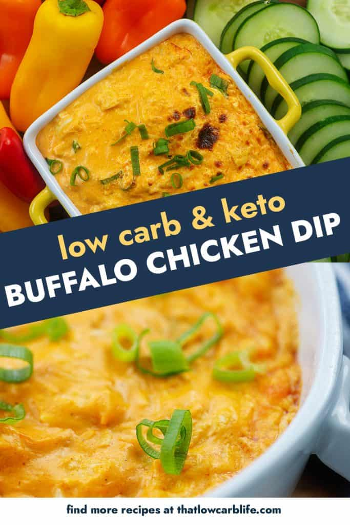 low carb buffalo chicken dip photo collage