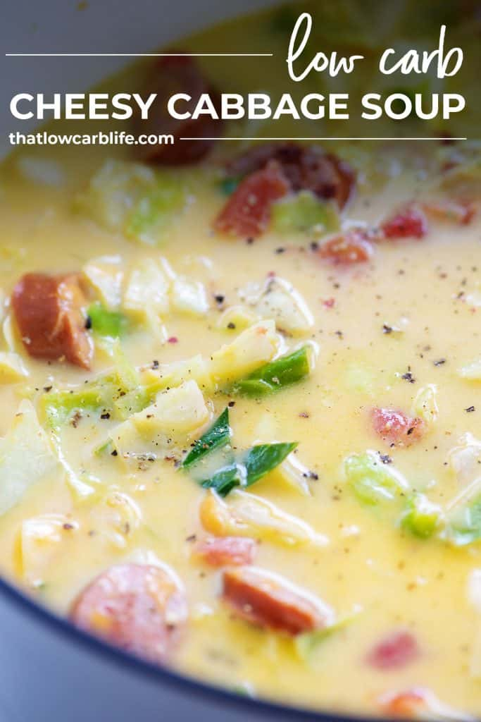 low carb cabbage and sausage soup recipe in white stock pot