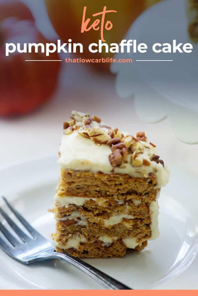 pumpkin cake recipe on white plate