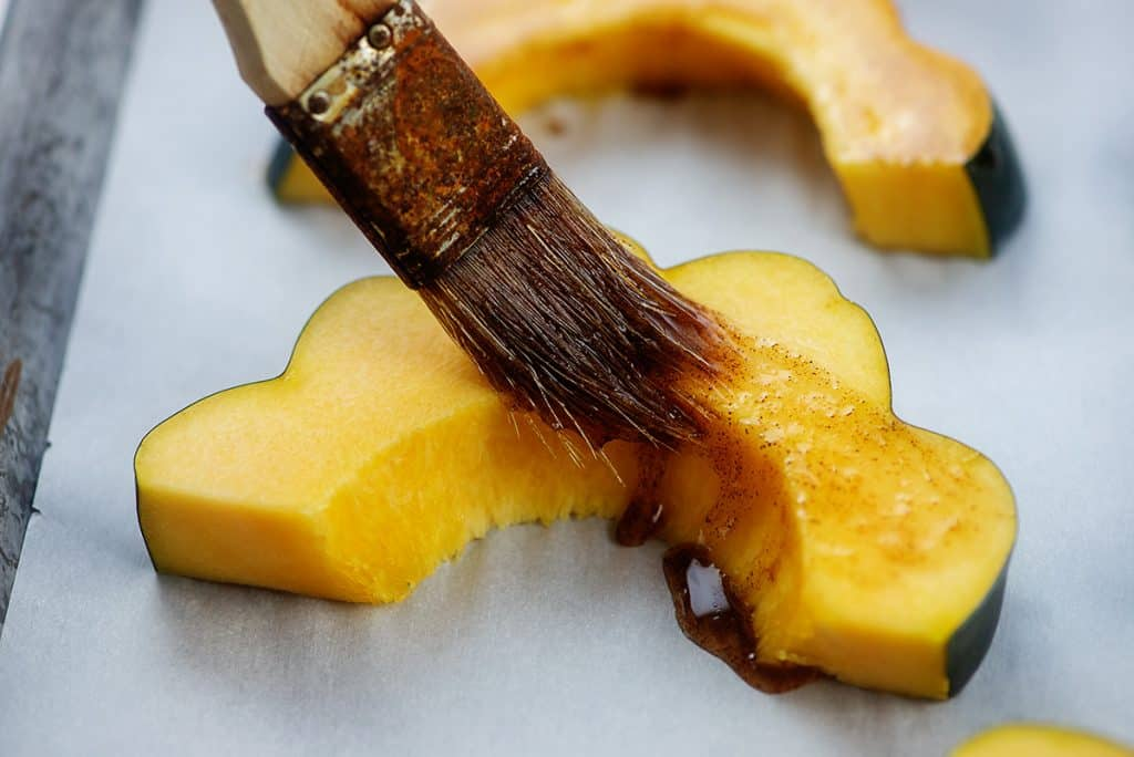 squash slices brushed with maple butter