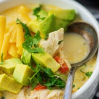 fajita soup recipe in white bowl