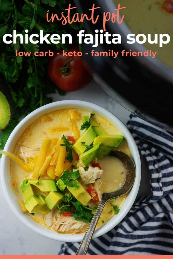 chicken fajita soup recipe in white bowl near an Instant Pot