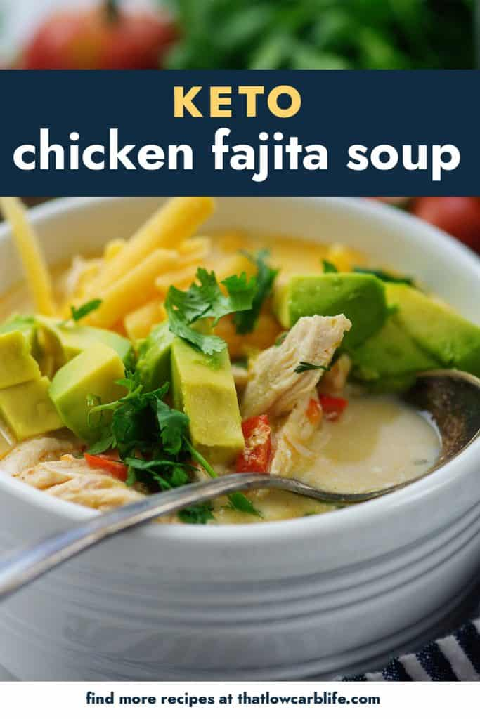 keto chicken fajita soup in white bowl