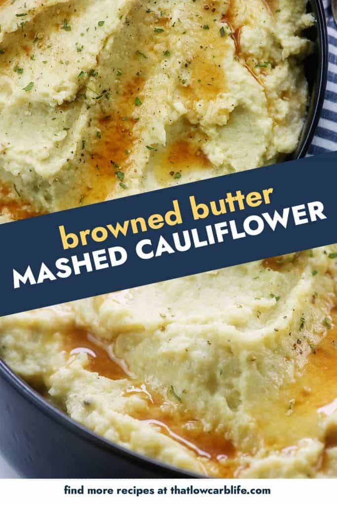 Browned butter mashed cauliflower photo collage.