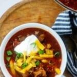 white bowl full of keto chili.