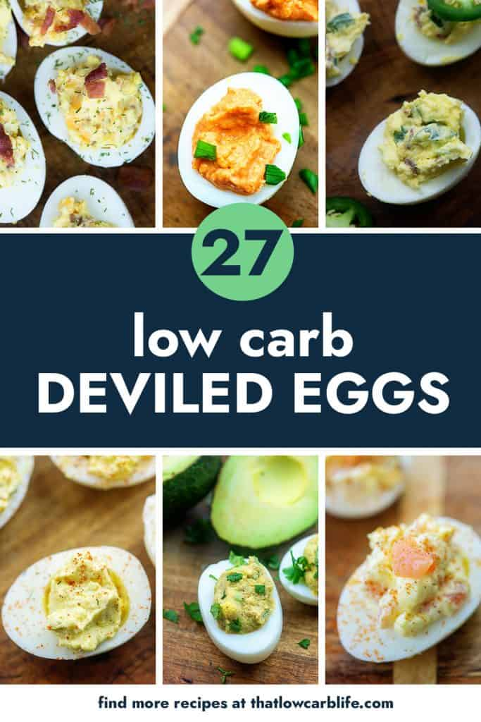 collage of keto deviled egg recipes.