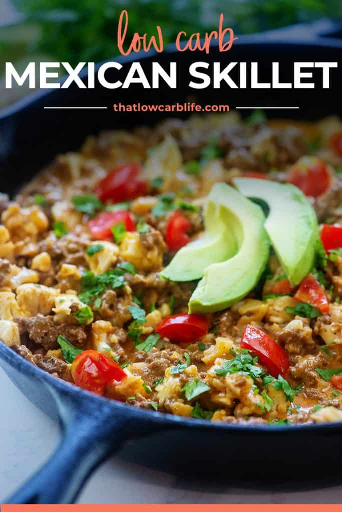 low carb Mexican recipe in cast iron skillet.