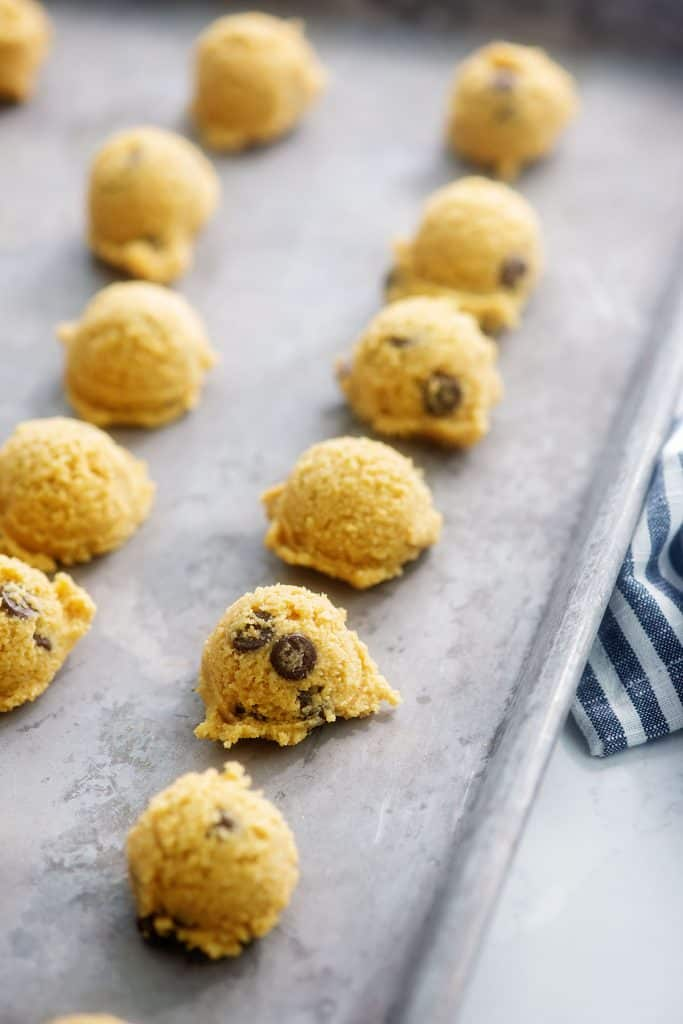 keto cookie dough fat bombs on baking sheet.
