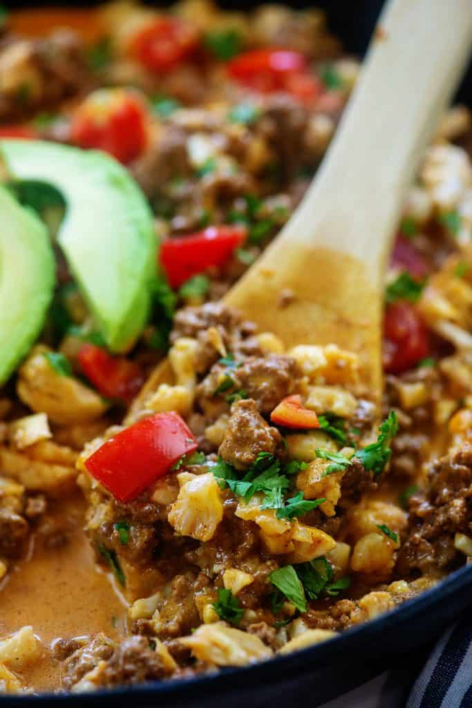 spoonful of keto taco skillet recipe.