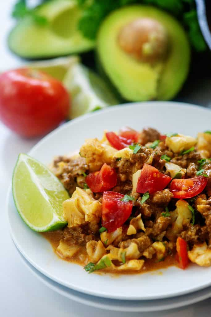 white plate topped with low carb Mexican recipe.
