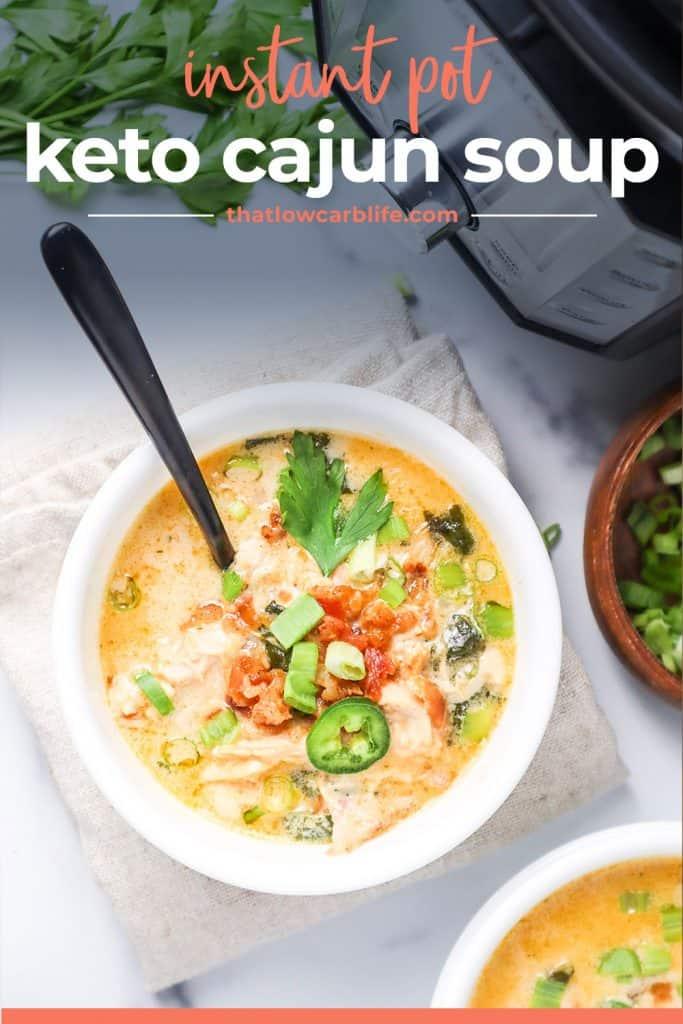 white bowl full of instant pot keto soup.