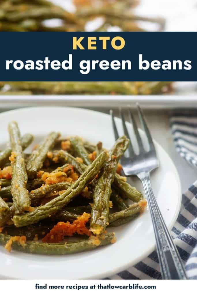 parmesan roasted green beans on white plate.