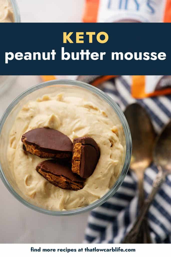 overhead view of peanut buter mousse in glass dish.