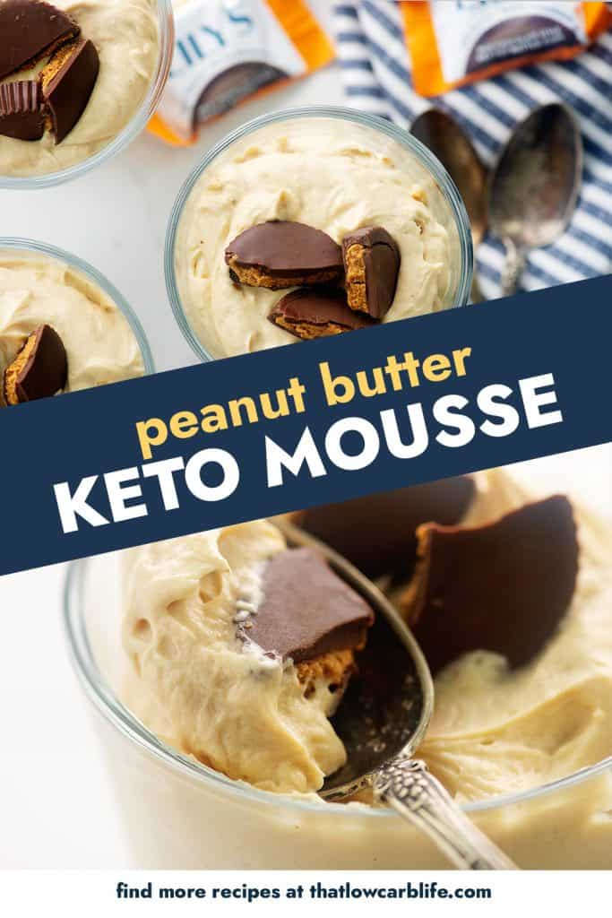 collage of peanut butter mousse photos.