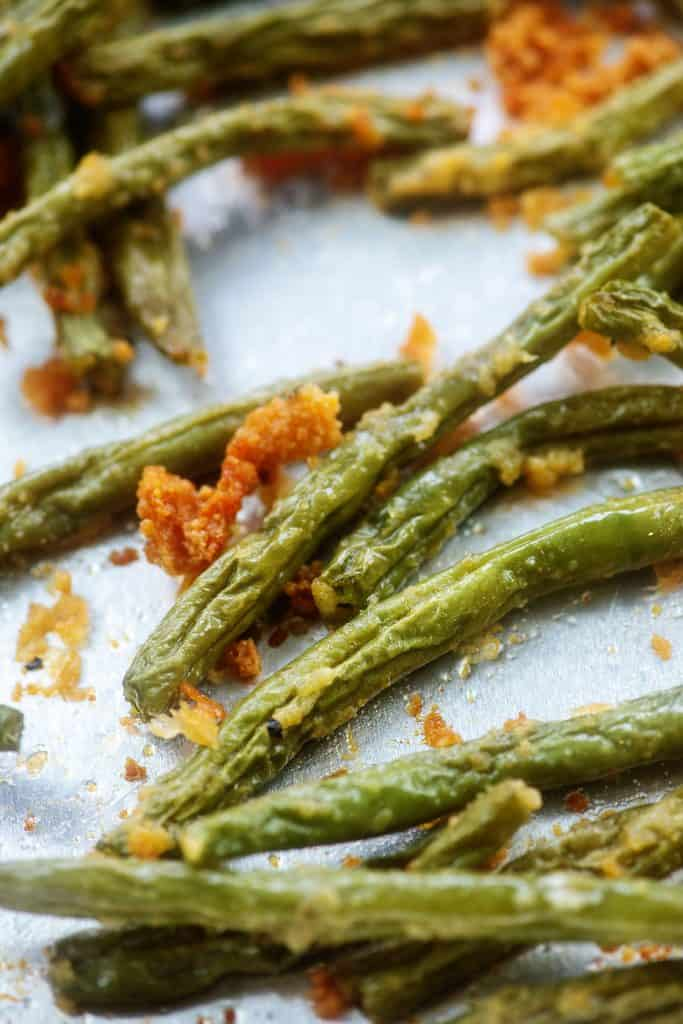 green beans on baking sheet.