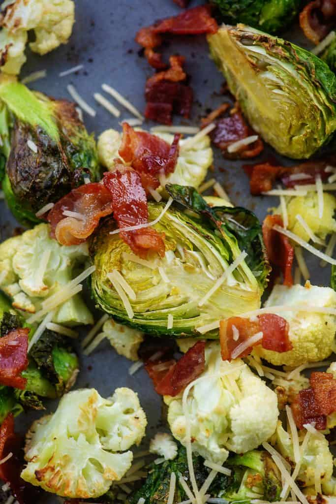 garlic parmesan roasted Brussels sprouts on baking sheet.