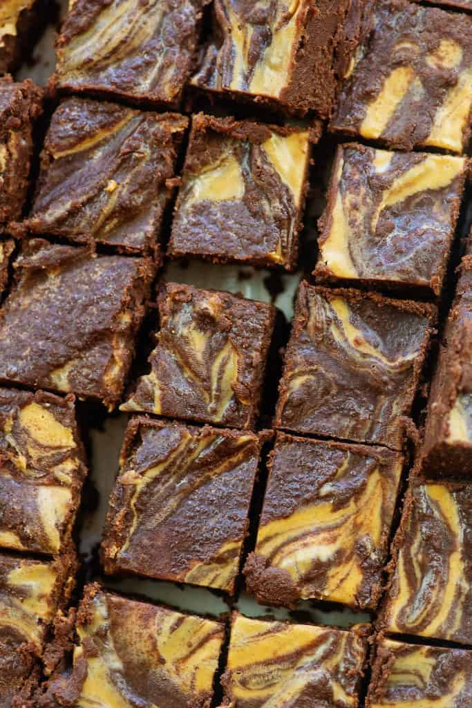 overhead view of chocolate peanut butter fudge squares.