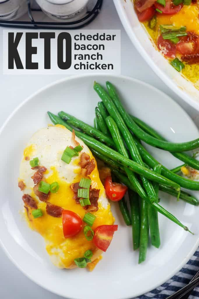 low carb chicken recipe on white plate with green beans.