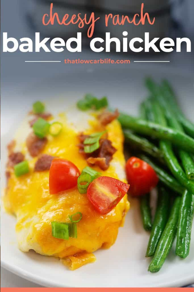low carb baked chicken on plate with green beans.