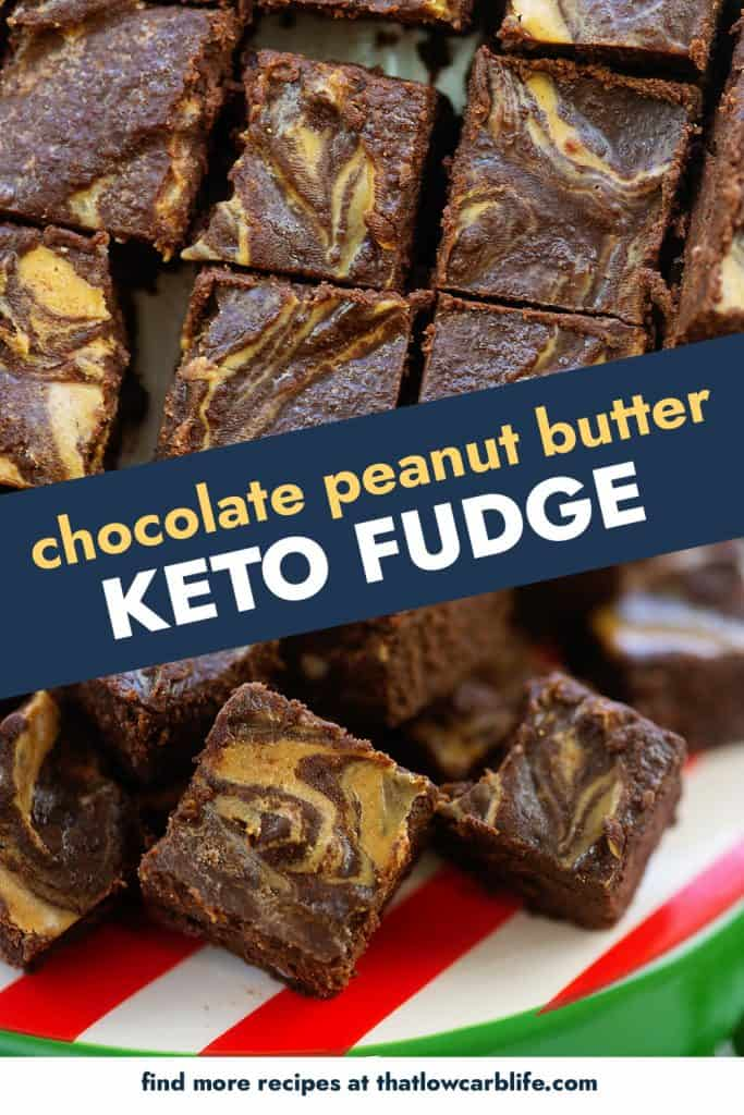collage of images featuring chocolate peanut butter fudge.
