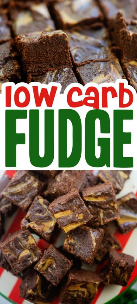 collage of low carb chocolate fudge photos.