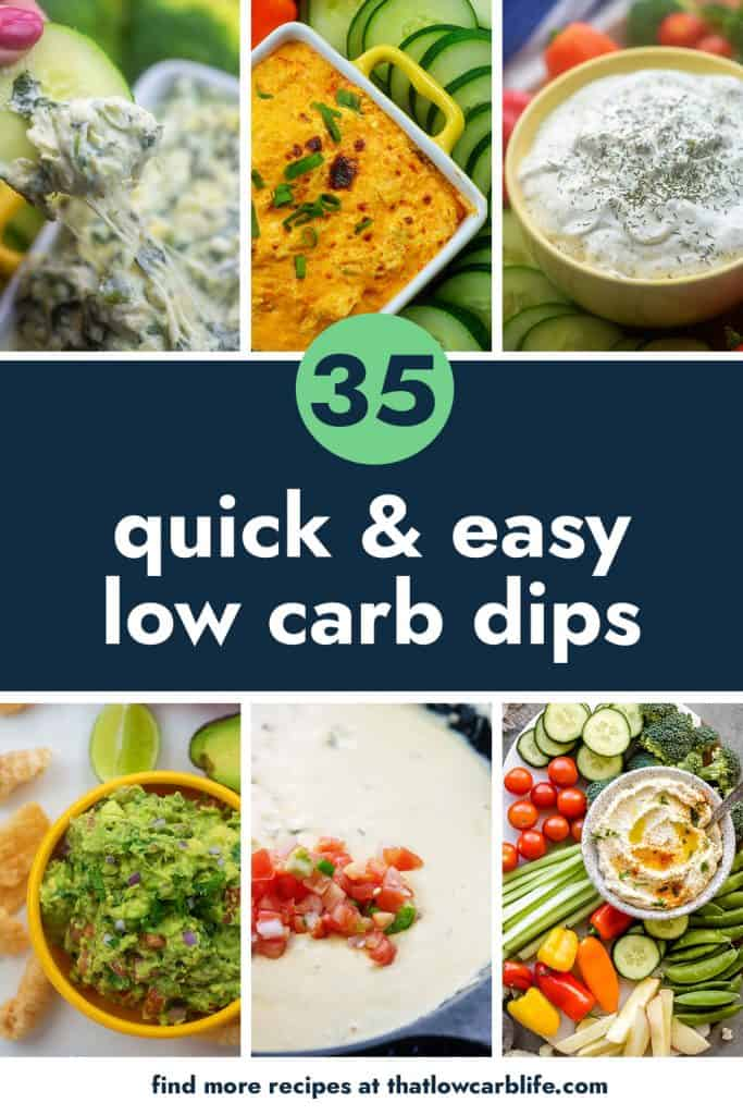 Collage of low carb dip recipes.