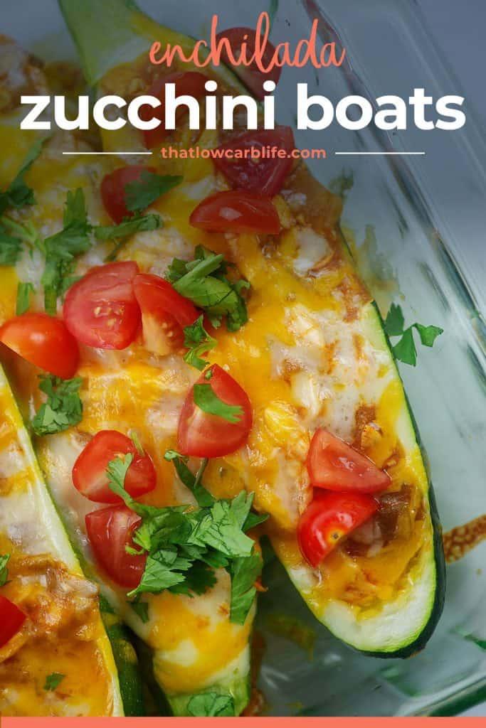 keto zucchini boats in baking dish.