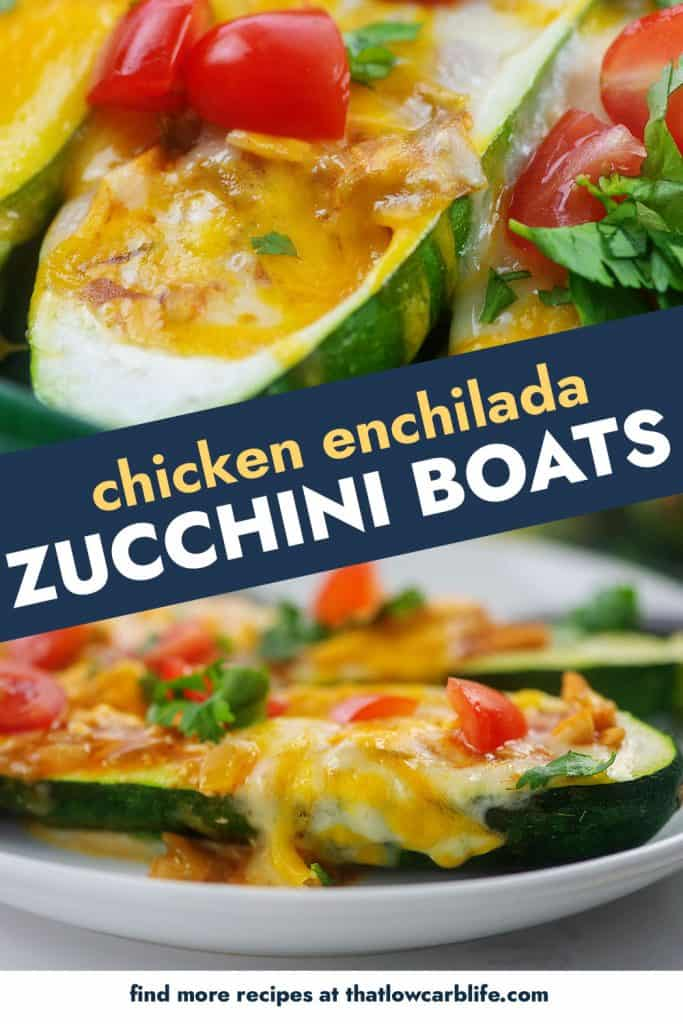 collage of zucchini boats photos.