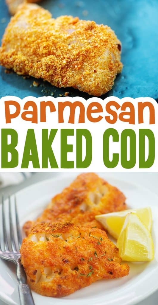 Baked parmesan cod collage.