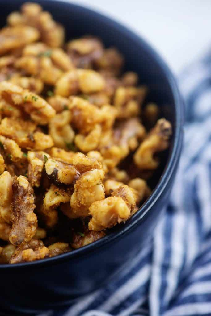 walnuts seasoned with butter and garlic and roasted.