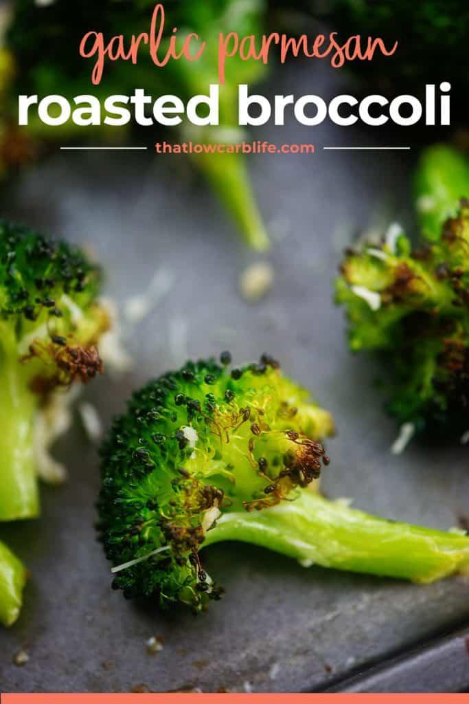 garlic parmesan roasted broccoli on sheet pan.