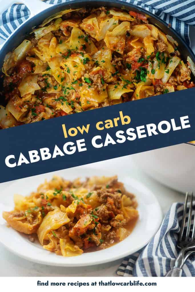 collage of cabbage casserole images.