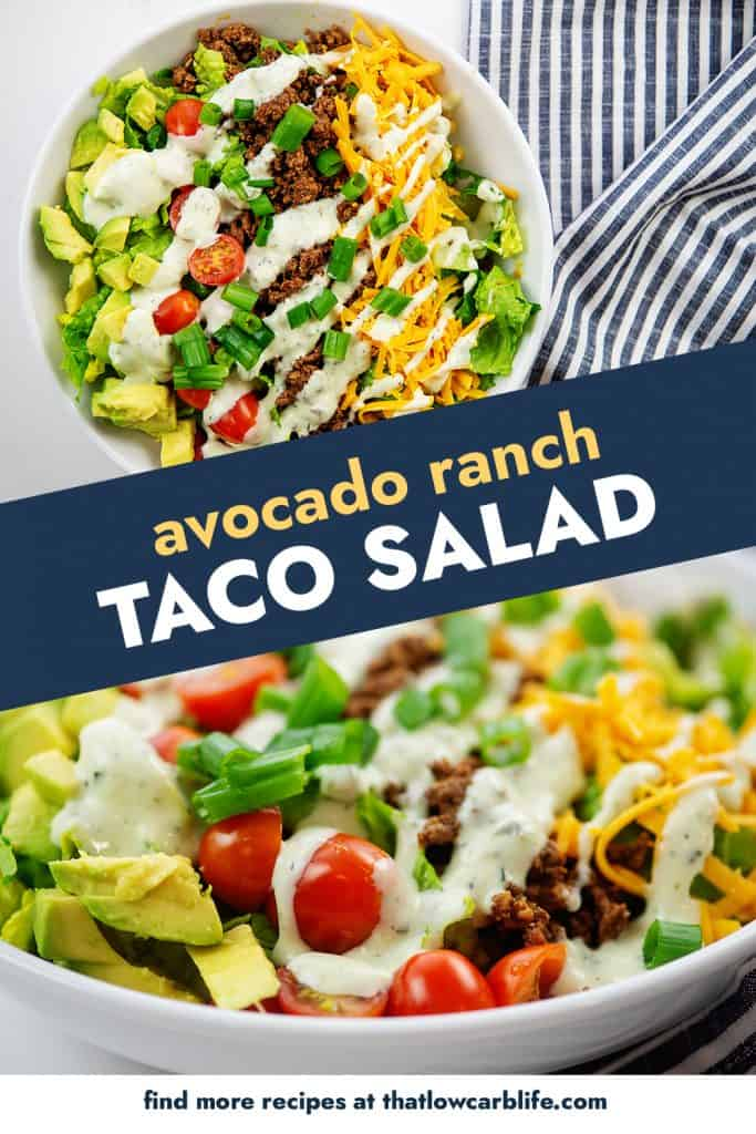 avocado ranch taco salad photo collage