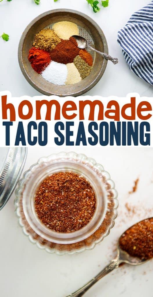 homemade taco seasoning photo collage.