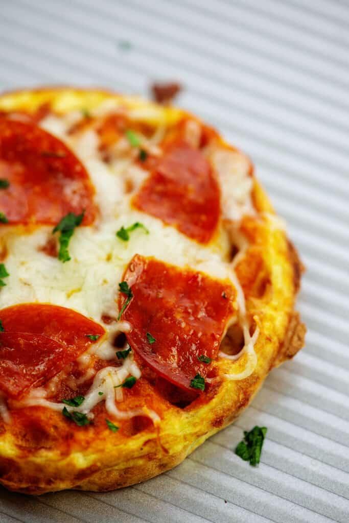 pepperoni pizza chaffle on baking sheet.