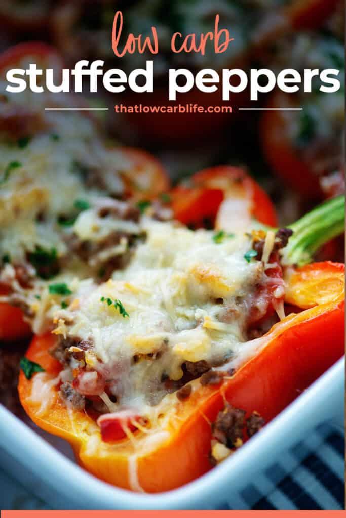 cheesy Italian peppers in baking dish.