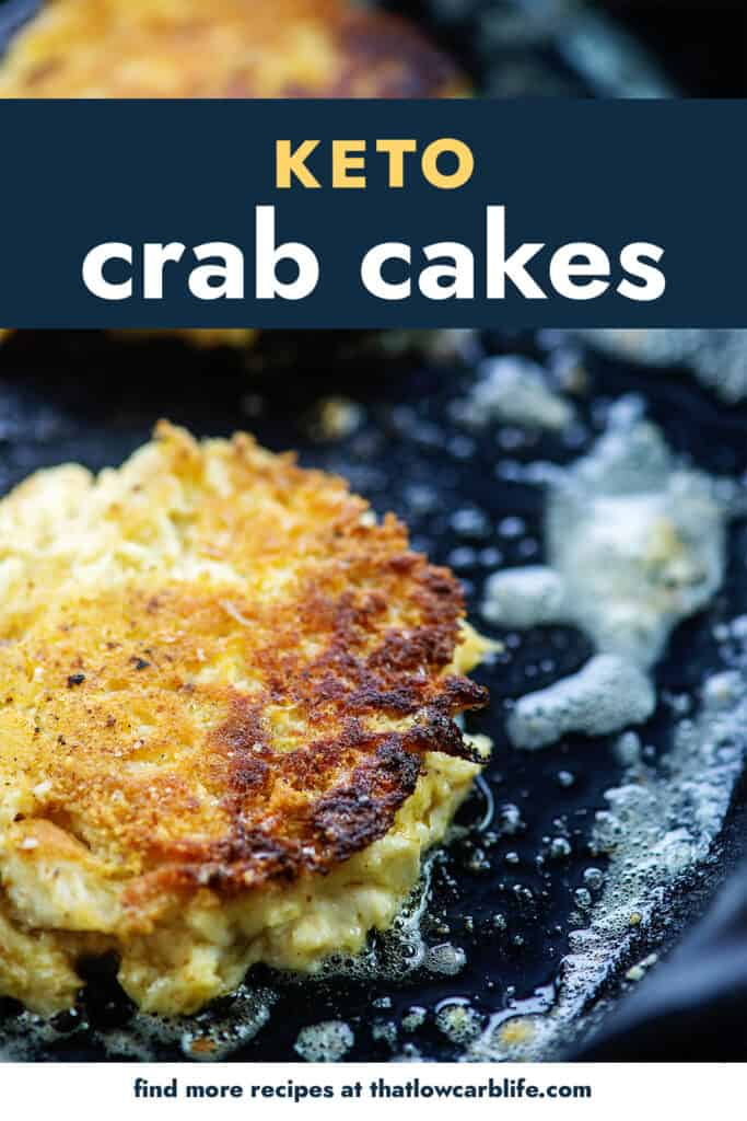 crab cakes cooking in oil in skillet