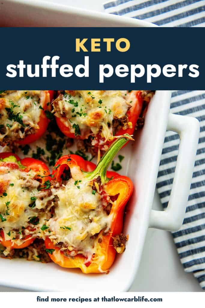 stuffed peppers in baking dish.