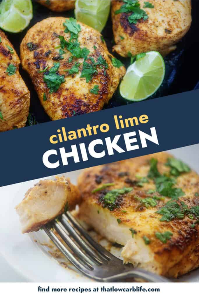 collage of cilantro lime chicken images.