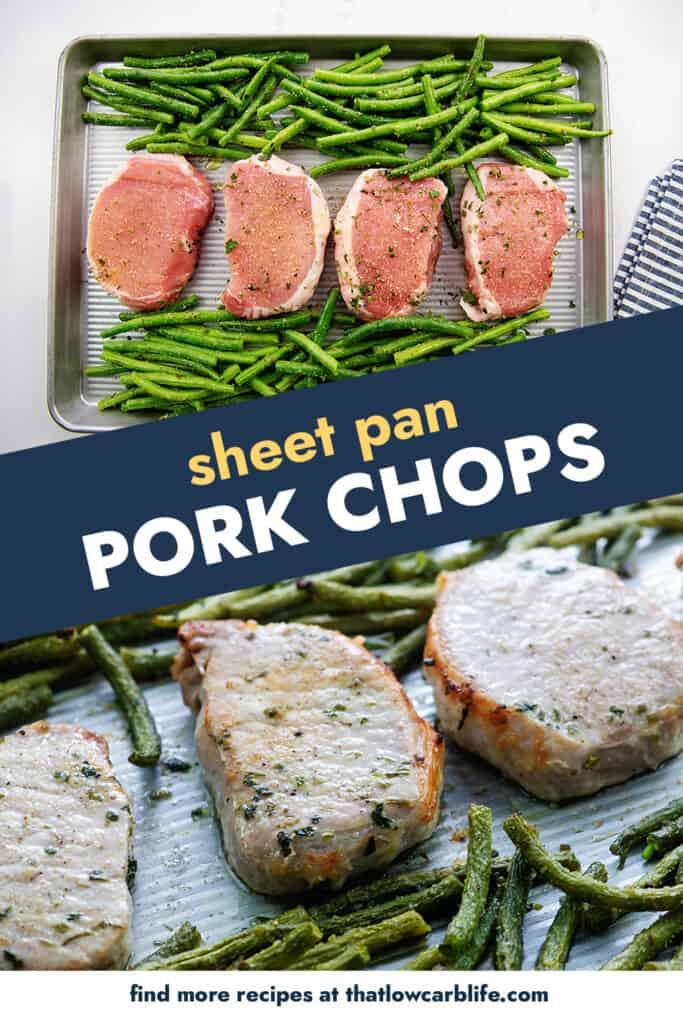 collage of baked pork chop images.